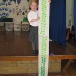 Lily has made a beanstalk that is bigger than her and has written her numbers from 1-100. Well done Lily!